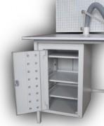 Стол радиомонтажника с перфорированной задней стенкой и металлической тумбой СРМ-1300ПС